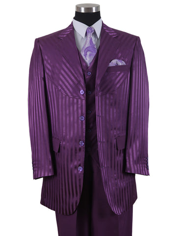 Mens 3 Button Ton on Ton Stripe Fashion Suit in Purple