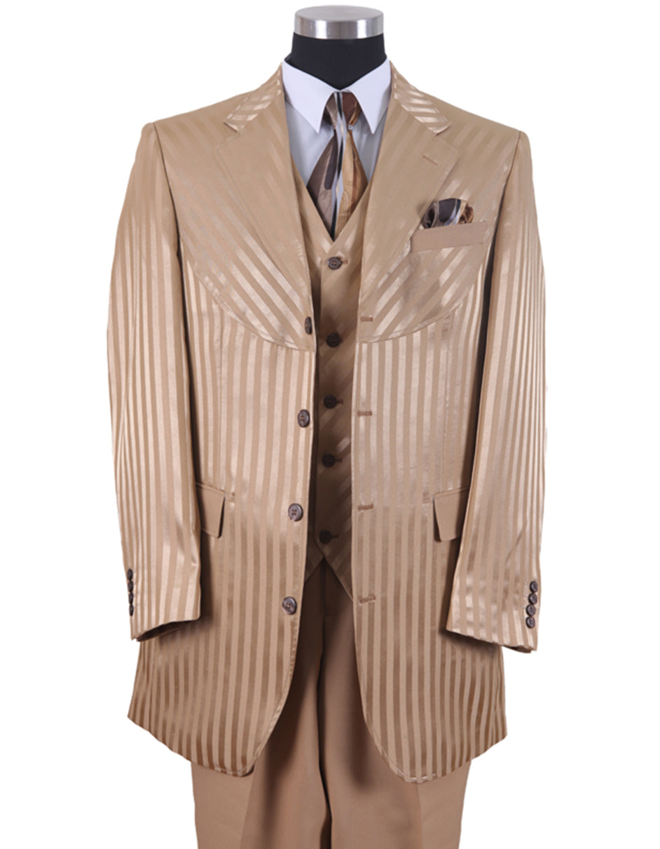 Mens 3 Button Ton on Ton Stripe Fashion Suit in Tan