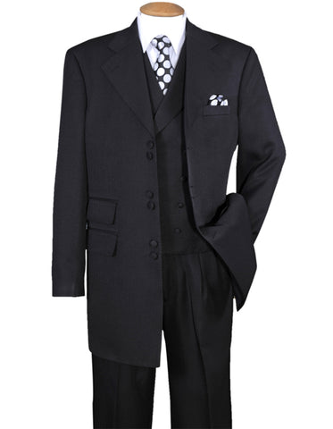 Mens 6 Button Double Breasted Vest Zoot Suit in Black