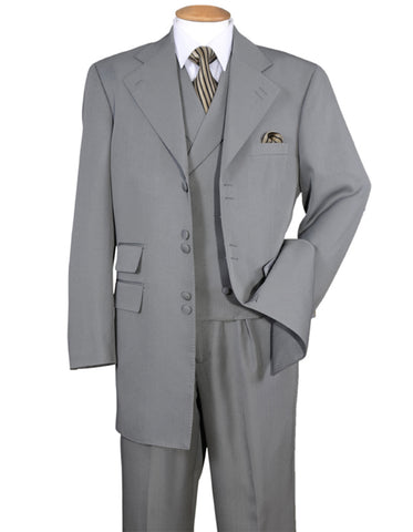 Mens 6 Button Double Breasted Vest Zoot Suit in Grey