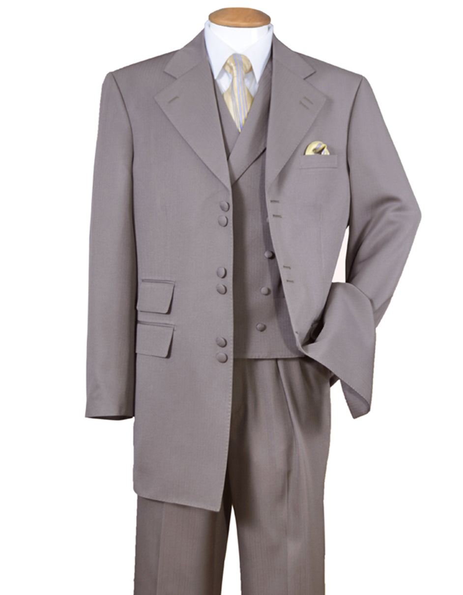 Mens 6 Button Double Breasted Vest Zoot Suit in Taupe