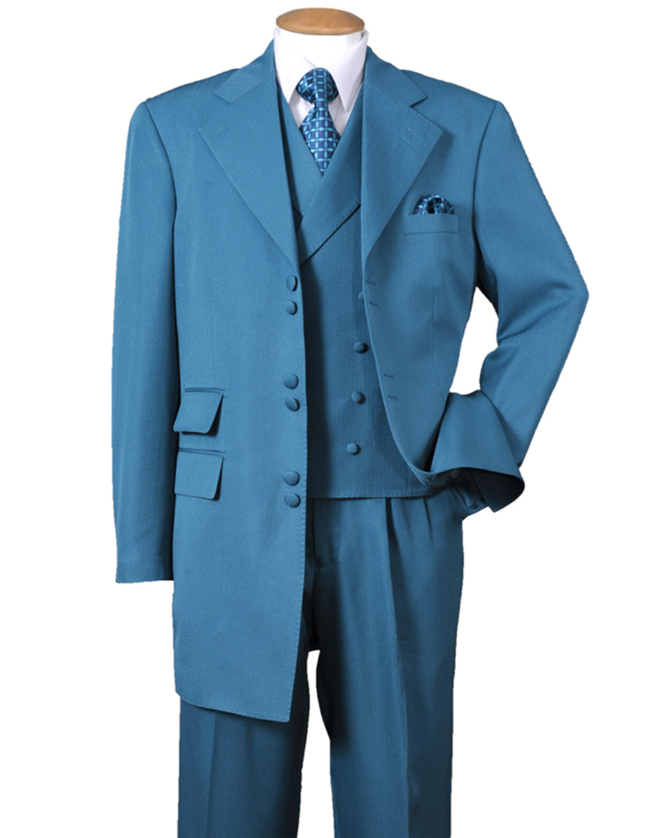 Mens 6 Button Double Breasted Vest Zoot Suit in Turquoise