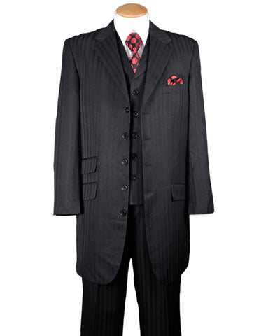 Mens Ton on Ton Stripe Fashion Zoot Suit in Black