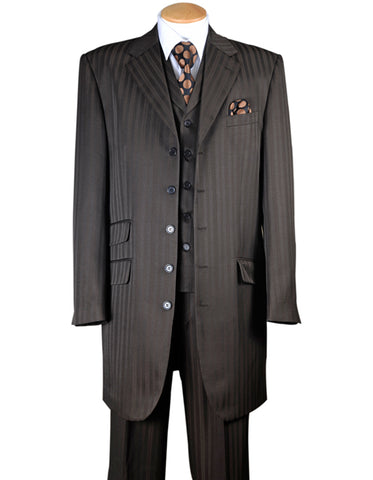 Mens Ton on Ton Stripe Fashion Zoot Suit in Brown
