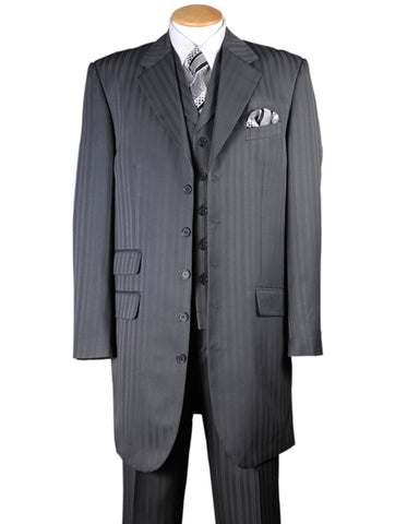 Mens Ton on Ton Stripe Fashion Zoot Suit in Grey