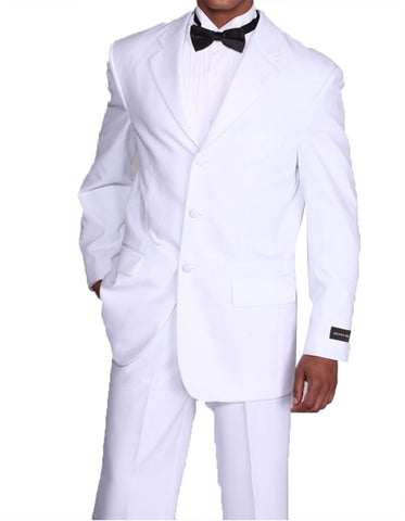 Mens Cheap Traditional 3 Button Polyester Tuxedo in White