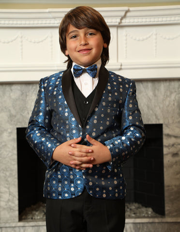 Boys Vested Polka Dot Tuxedo in Royal Blue