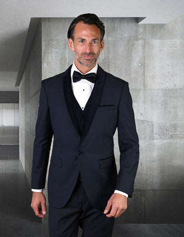 Mens Vested Wool Tuxedo with Velvet Shawl Lapel in Navy