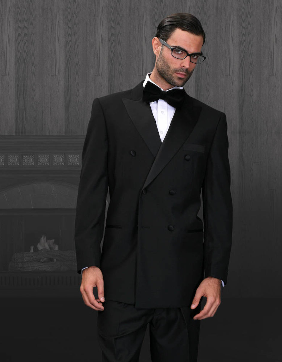 Mens Classic Wool Double Breasted Tuxedo in Black