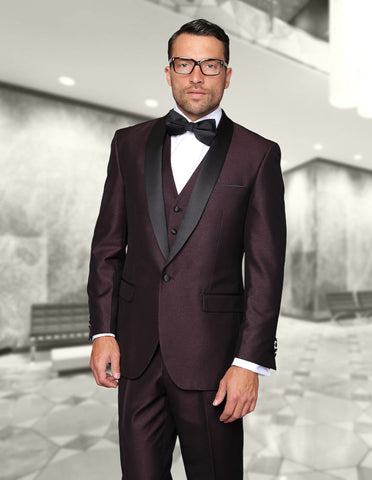 Mens Vested One Button Shiny Shawl Lapel Tuxedo in Burgundy