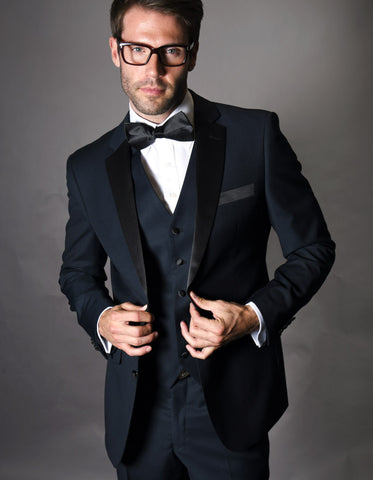 Mens 2 Button Modern Fit Vested Wool Tuxedo in Navy Blue