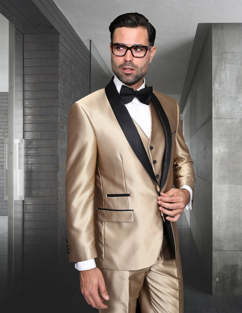 Mens Vested One Button Shiny Sharkskin Shawl Lapel Tuxedo in Gold