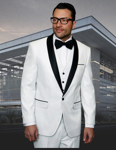 Mens Vested One Button Shiny Sharkskin Shawl Lapel Tuxedo in White