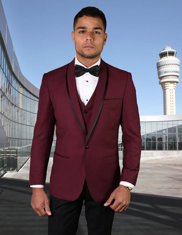 Mens Vested Wool Tuxedo in Shawl Lapel with Satin Trim in Burgundy & Black