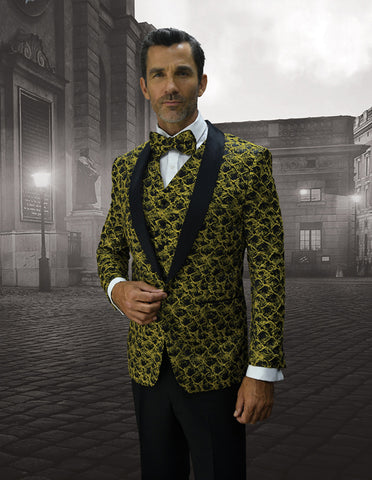 Mens Vested Floar Pattern Shawl Lapel Tuxedo in Gold