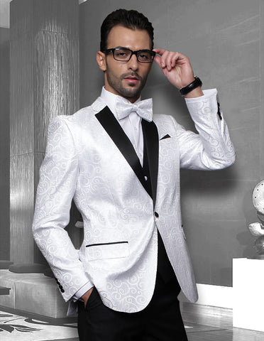 Mens Vested Swirl Patter Notch Lapel Tuxedo in White