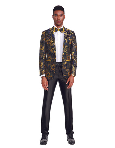 Mens Slim Fit Shawl Prom Blazer in Gold Flower Print