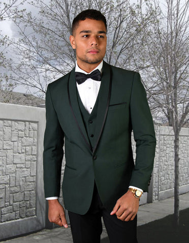 Mens Vested Wool Tuxedo in Shawl Lapel with Satin Trim in Hunter Green & Black
