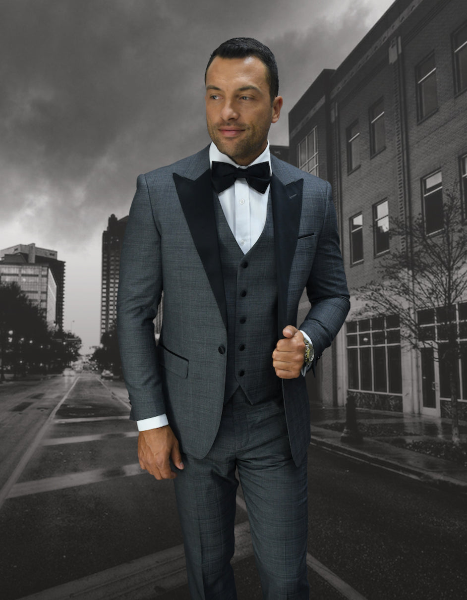 Mens 1 Button Peak Lapel Vested Wool Tuxedo in Grey