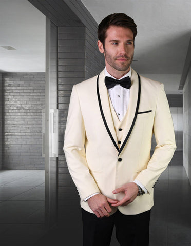 Mens Vested Wool Tuxedo in Shawl Lapel with Satin Trim in Ivory & Black