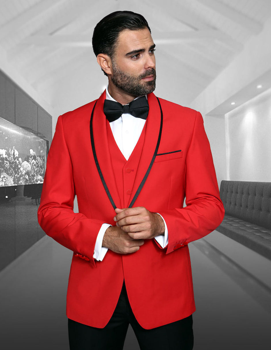 Mens Vested Wool Tuxedo in Shawl Lapel with Satin Trim in Red & Black