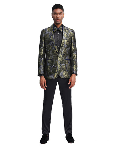 Mens Slim Fit Mettalic Floral Print Prom Blazer in Gold