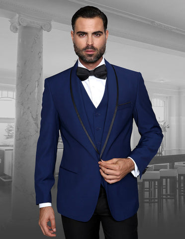 Mens Vested Wool Tuxedo in Shawl Lapel with Satin Trim in Sapphire Blue & Black