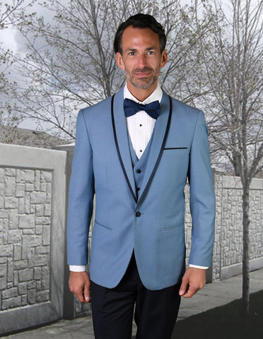 Mens Vested Wool Tuxedo in Shawl Lapel with Satin Trim in Steel Blue & Black