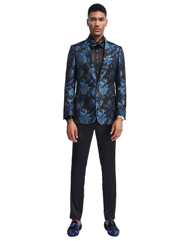 Mens Slim Fit Prom Shawl Tuxedo Jacket in Blue Floral Print