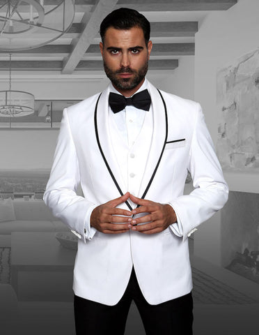 Mens Vested Wool Tuxedo in Shawl Lapel with Satin Trim in White & Black