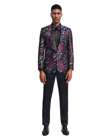 Mens Slim Fit Prom Shawl Tuxedo Jacket in Navy & Dark Pink Floral Print