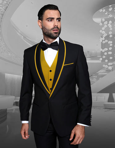 Mens Vested Wool Tuxedo in Shawl Lapel with Satin Trim in Black & Gold