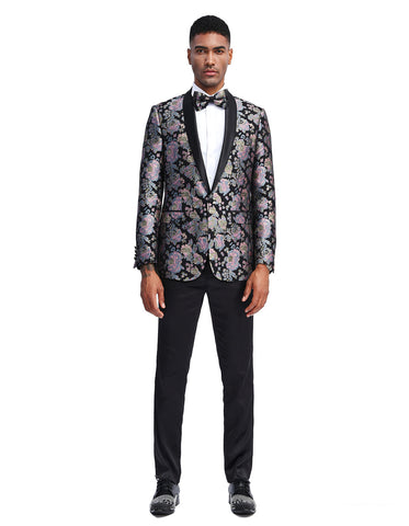 Mens Slim Fit Black & Purple Floral Pattern Prom Tuxedo Jacket
