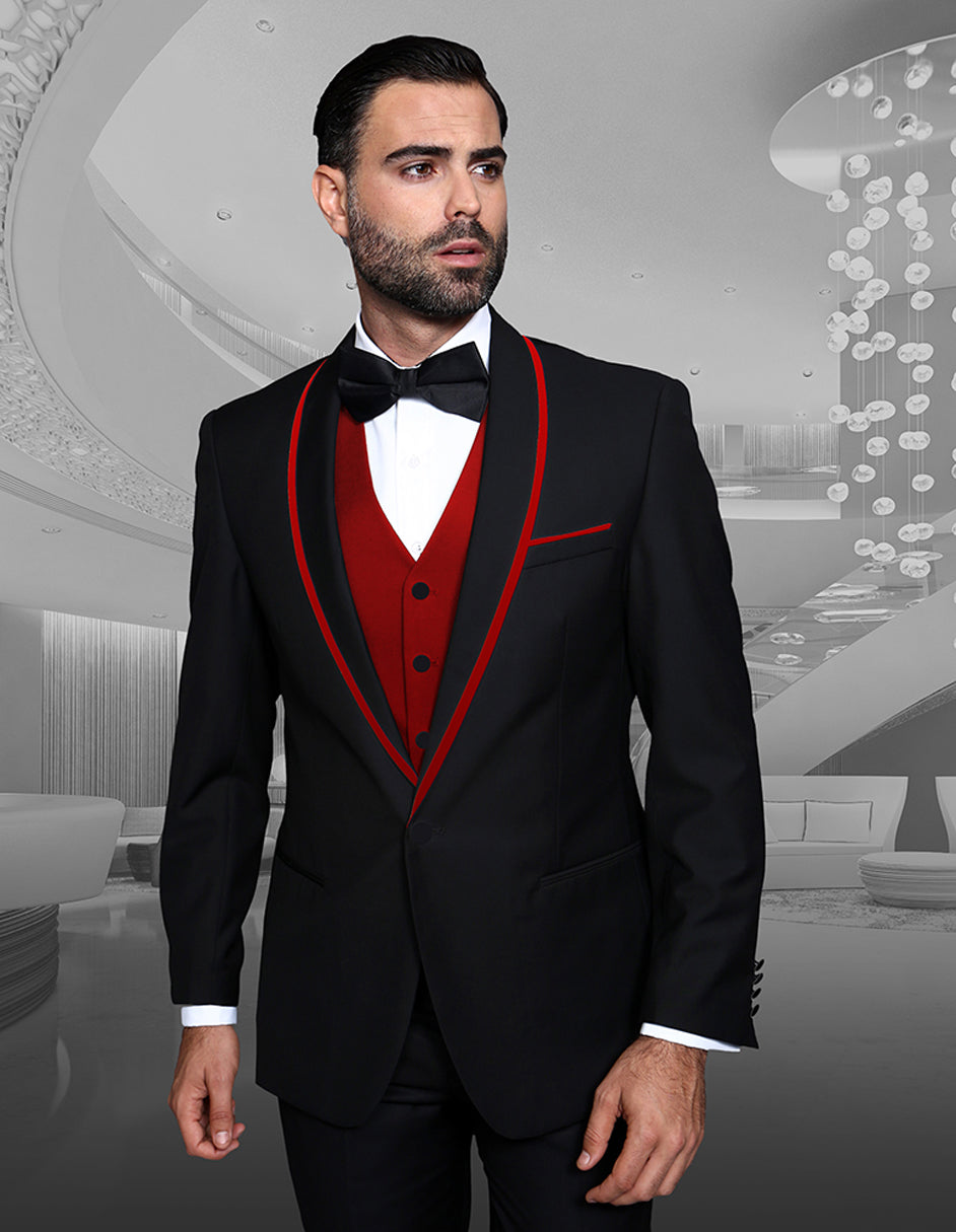 Mens Vested Wool Tuxedo in Shawl Lapel with Satin Trim in Black & Red