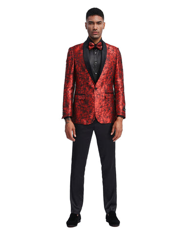 Mens Red Floral Prom Tuxedo Dinner Jacket with Black Lapel