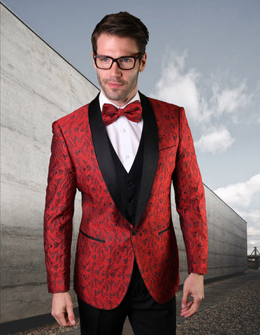 Mens Vested Geometric Leaf Pattern Tuxedo in Red