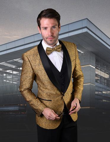 Mens Vested Lace Pattern Tuxedo in Gold