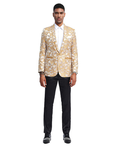 Mens Slim Fit Paisley Shawl Prom Tuxedo Blazer in Gold