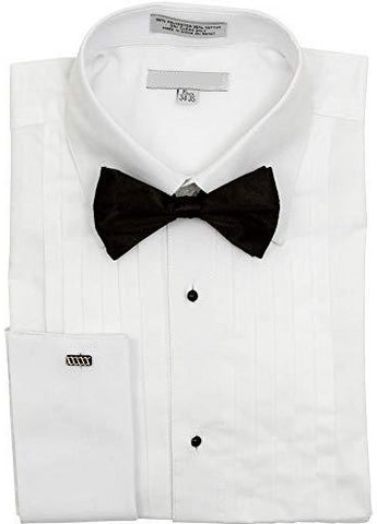 Mens White French Cuff Laydown Collar Tuxedo Shirt