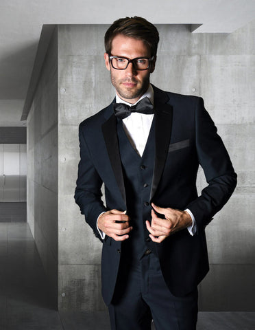 Mens Classic Modern Fit 2 Button Vested Wool Tuxedo in Navy Blue