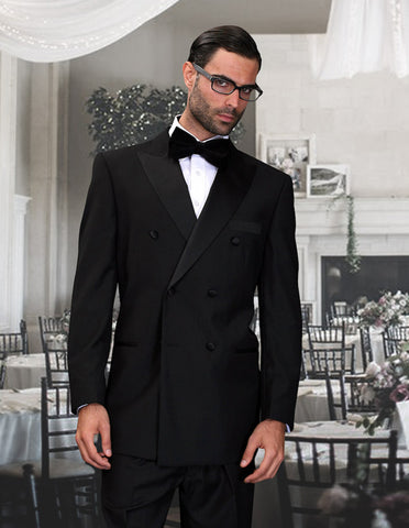 Mens Classic 6 on 2 Double Breasted Wool Tuxedo in Black