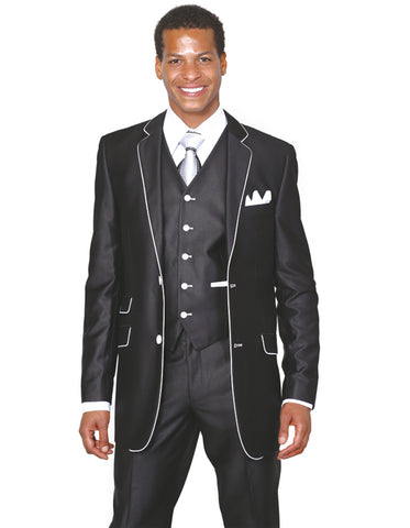 Mens 2 Button Vested Trim Tuxedo in Black
