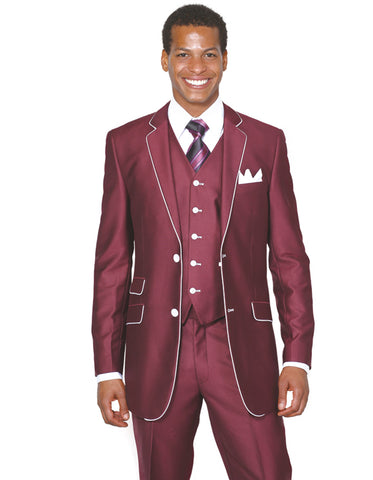 Mens 2 Button Vested Trim Tuxedo in Burgundy