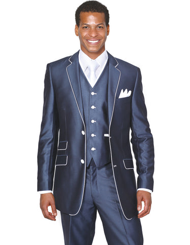 Mens 2 Button Vested Trim Tuxedo in Navy Blue
