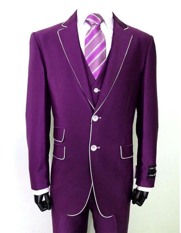 Mens 2 Button Vested Trim Tuxedo in Purple