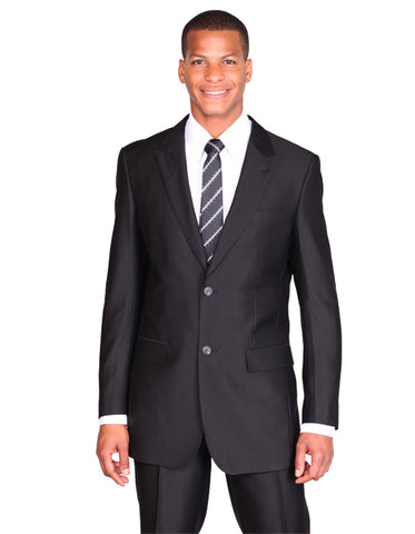 Mens 2 Button Peak Lapel Shiny Sharkskin Suit in Black