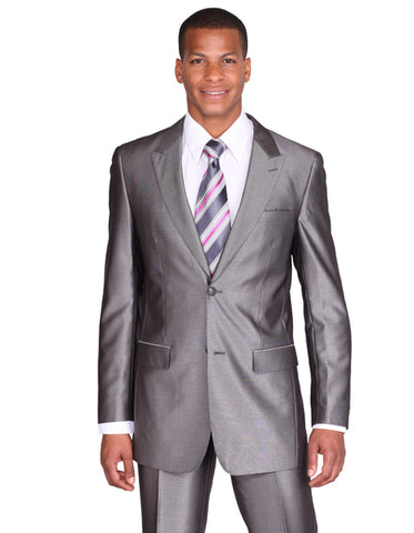 Mens 2 Button Peak Lapel Shiny Sharkskin Suit in Grey