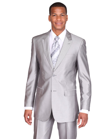 Mens 2 Button Peak Lapel Shiny Sharkskin Suit in Silver Grey