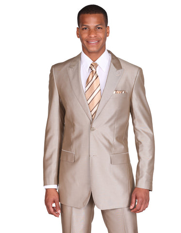 Mens 2 Button Peak Lapel Shiny Sharkskin Suit in Tan