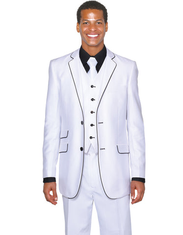 Mens 2 Button Vested Trim Tuxedo in White